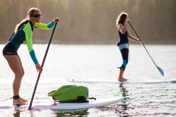 Two ladies Stand Up Paddleboarding
